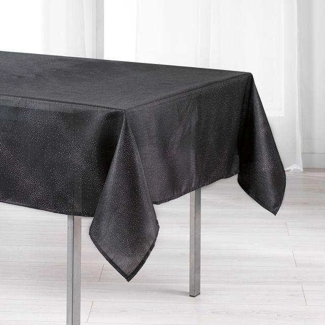 L'HARMONIE Du Decor Cdaffaires Nappe rectangle 140 x 200 cm shantung applique scintille Noir