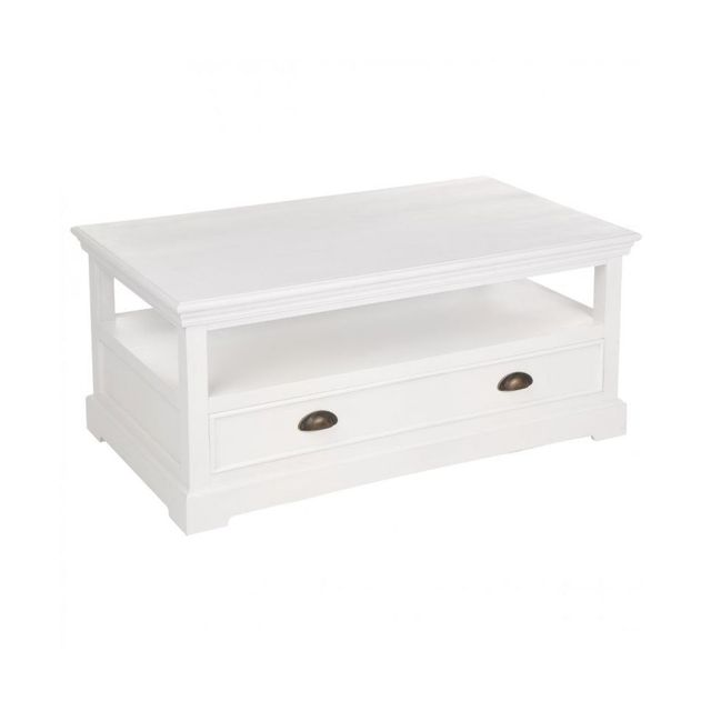 Jja Table basse blanche 1 tiroir collection Conall