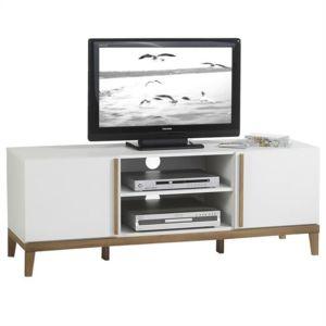 Idimex meuble banc tv vintage riga mdf blanc et bois pas cher achat ven - Banc tv blanc et bois ...