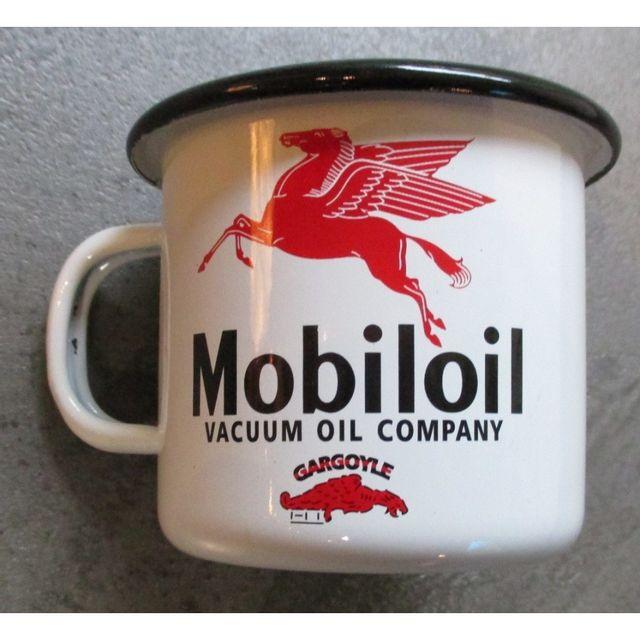 Universel Mug mobiloil en email tasse à café emaillée pegase huile usa