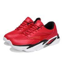 0e0f4a9a1cc12 Chaussures de course à la mode pour hommes occasionnels avec tête ronde  Couleur: rouge Taille: 40