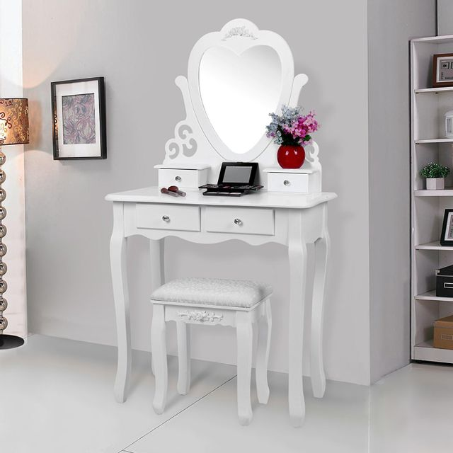 rocambolesk superbe coiffeuse table blanche de maquillage grand commode rdt14w neuf pas cher. Black Bedroom Furniture Sets. Home Design Ideas
