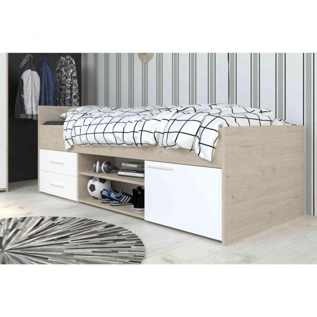 TERRE DE NUIT Lit 90x200 en bois blanc et chêne jackson - LT1036