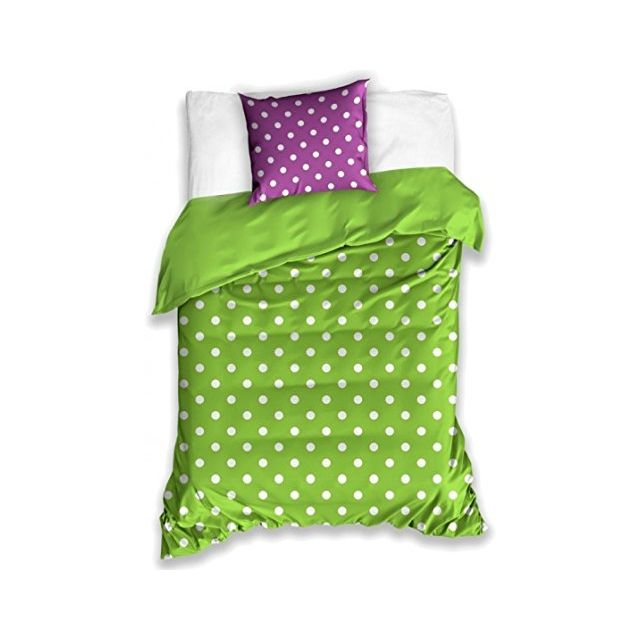 Bebe Gavroche Parure de lit Polkadot violet vert 100% coton 140x200 cm