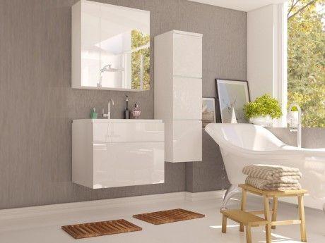 SHOWER DESIGN Ensemble SOLENE - meubles de salle de bain - Laqué blanc