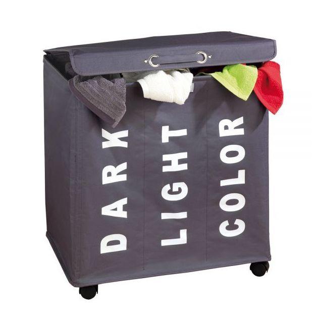 wenko panier linge sur roulettes 3 compartiments pour trier les couleurs pas cher achat. Black Bedroom Furniture Sets. Home Design Ideas