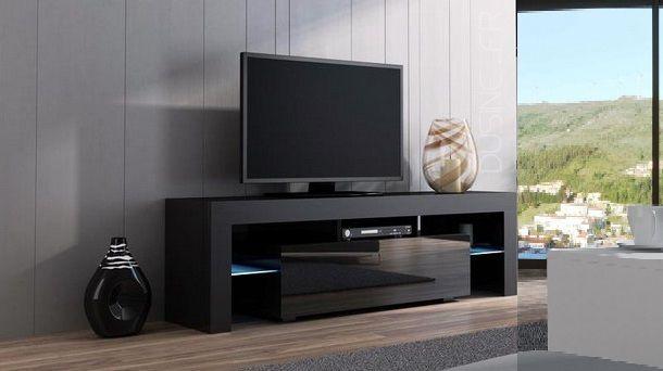Dusine Meuble Tv Spider Noir laqué et Noir mat 160 cm
