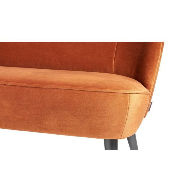 WOOOD - Petit canapé en velours rouille, piètement en bois - Collection Sara Orange - 70cm x 110cm x 73cm