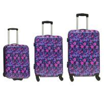 CARREFOUR - Lot de 3 valises rigides imprimées Hibou - 4 roues - ABS
