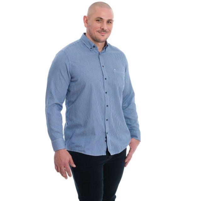 &TRADITION Chemise bleu à rayure blanc