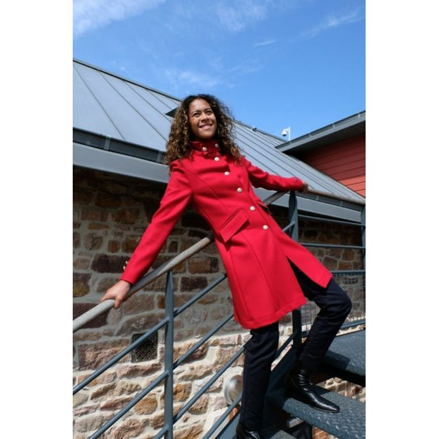 7939aab0ed Dalmard Marine - Manteau laine made in France Couleur - rouge, Taille Femme  - 44