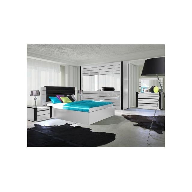 Price Factory - Chambre à coucher complète Lina blanche et noire ...
