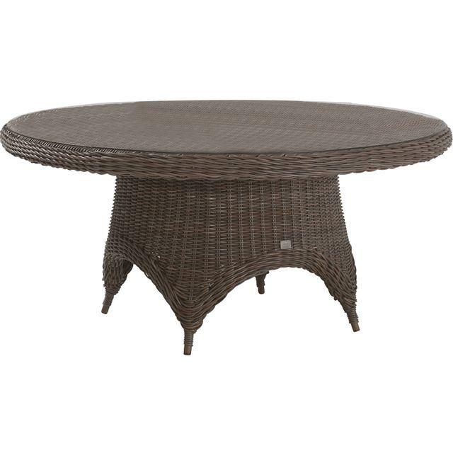Comforium Table de jardin ø 170 cm en résine tressée coloris brun + vitre incluse
