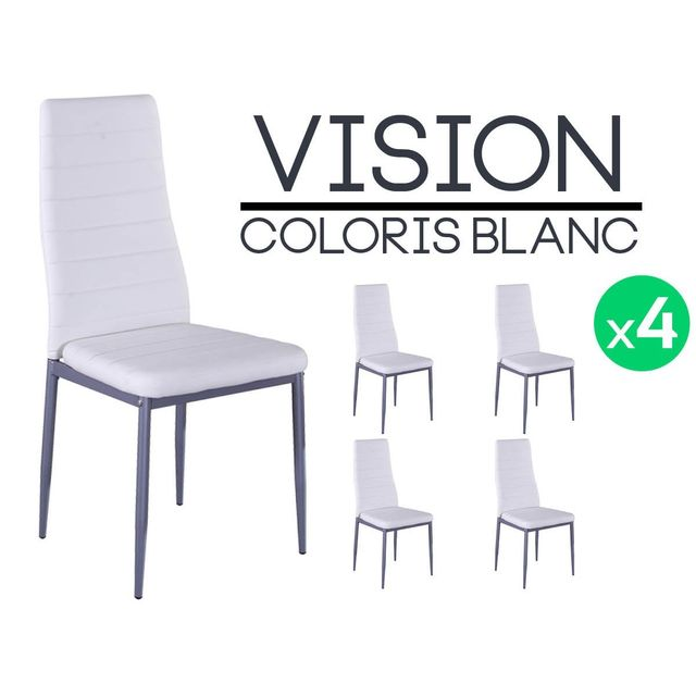 Altobuy vision lot de 4 chaises blanches pas cher - Lot 4 chaises blanches ...