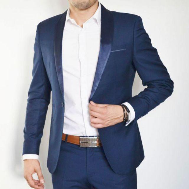 Prestige Man - Costume homme bleu cérémonie ou mariage col châle ... a001e66fd8f