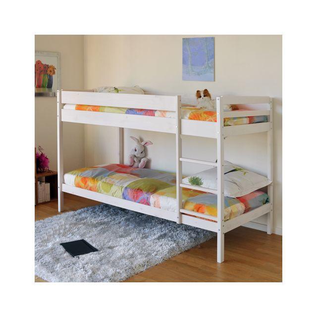no name lit superpos brice 90x190 2 sommiers blanchi 90cm x 190cm pas cher achat. Black Bedroom Furniture Sets. Home Design Ideas