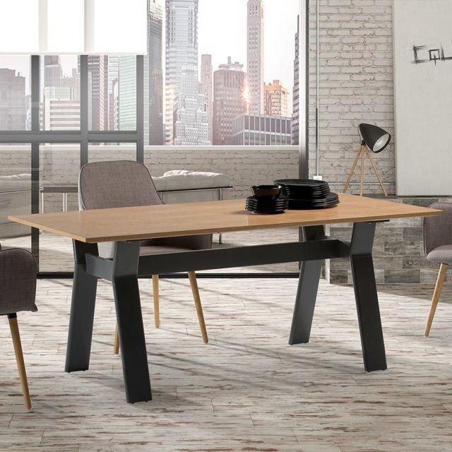 Nouvomeuble Table à manger bois et métal Kay