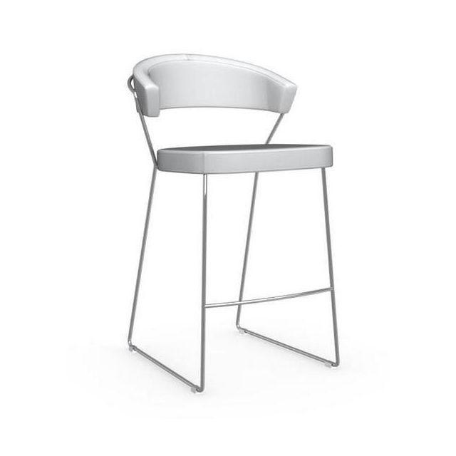 Inside 75 Chaise de bar New York design italienne structure acier chromé assise cuir blanc optique