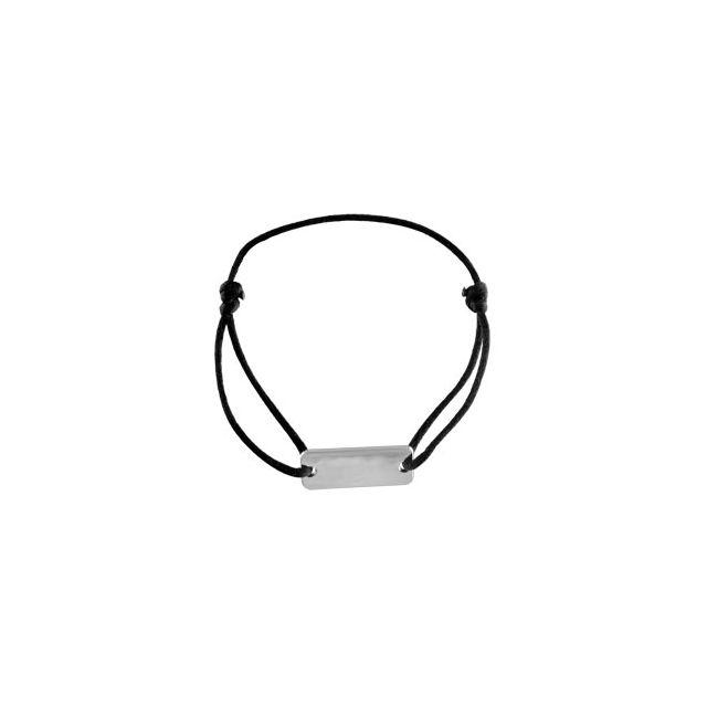 San Francisco 01ccf 3b5b0 Bracelet cordon noir coulissant plaque a graver rectangulauire argent