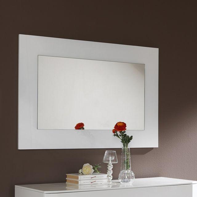 Nouvomeuble Miroir mural blanc laqué design Tatimo