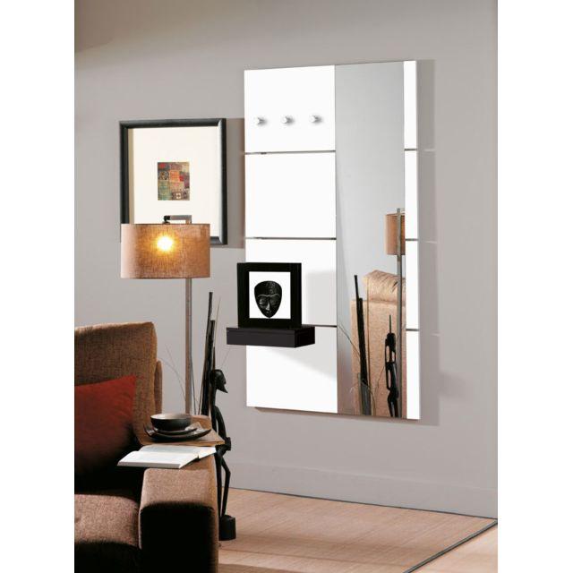 Sofamobili Porte-manteau mural blanc laqué brillant avec miroir design Laney
