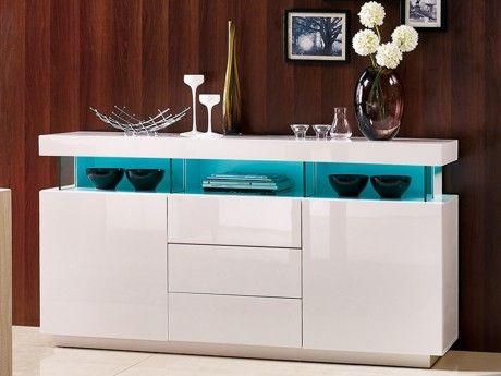 VENTE-UNIQUE - Buffet FABIO - MDF laqué blanc - LEDs - 3 tiroirs & 2 ...