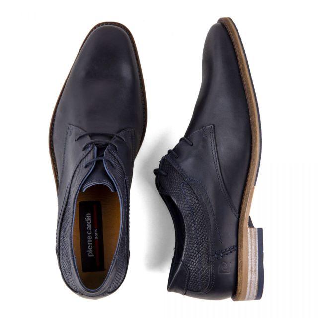 65e2db20aea63a ... Pierre cardin - Chaussures derbies bleues marines cuir Homme Pierre  Cardin ...