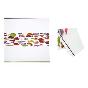 jardin d 39 ulysse nappe coton enduit motif poisson multicolore banc de poissons pas cher achat. Black Bedroom Furniture Sets. Home Design Ideas