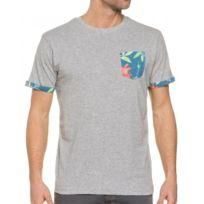Bellfield - T-shirt Gris Clair Avec Impression Fleurie