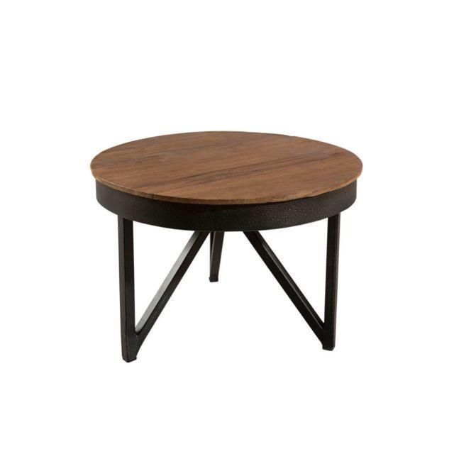 Bobochic Table basse ronde d'appoint 50 x 50 cm bois et métal Yogya