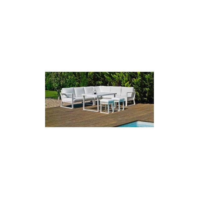 Hevea Ensemble Salon Sofa De Jardin A Manger Bolon 30 en Aluminium Blanc Coussins couleur Anais Blanc Hev31866