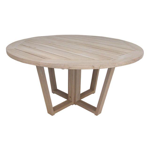 gecko jardin table ronde en teck massif recycl 150 cm newhaven naturel 150cm x 150cm x 77cm. Black Bedroom Furniture Sets. Home Design Ideas