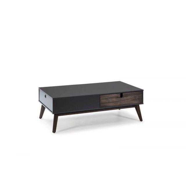 Bobochic Table basse Yugo gris anthracite / bois foncé