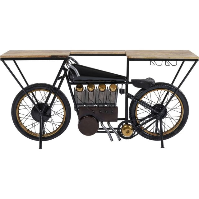 Karedesign Table de bar Moto noire 180x43cm Kare Design