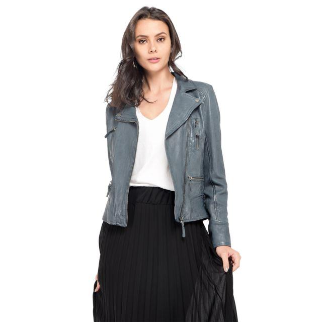 Veste en cuir bleu pour femme grande taille, AchatVente