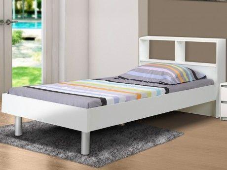 marque generique lit lucile blanc 90x190 cm avec rangements pas cher achat vente lit