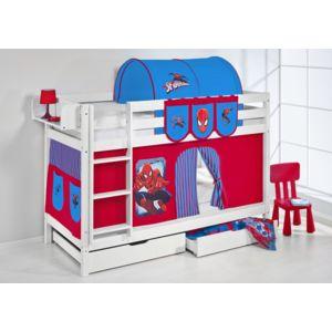 lilokids lits superpos s jelle 90x200 cm spiderman blanc laqu avec rideaux et sommier. Black Bedroom Furniture Sets. Home Design Ideas