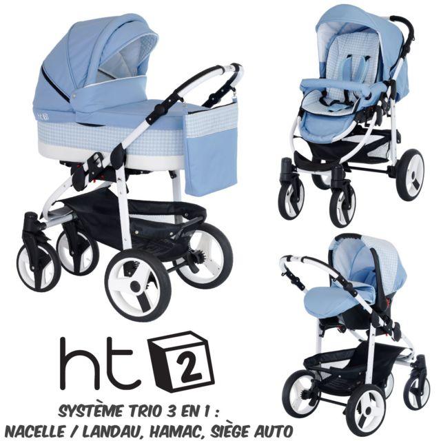 B&W - Poussette Combinée Trio 3 en 1 HT2 2018 - Landau, poussette promenade, siège auto Groupe 0 - Nombreux coloris - Livrée avec ses accessoires