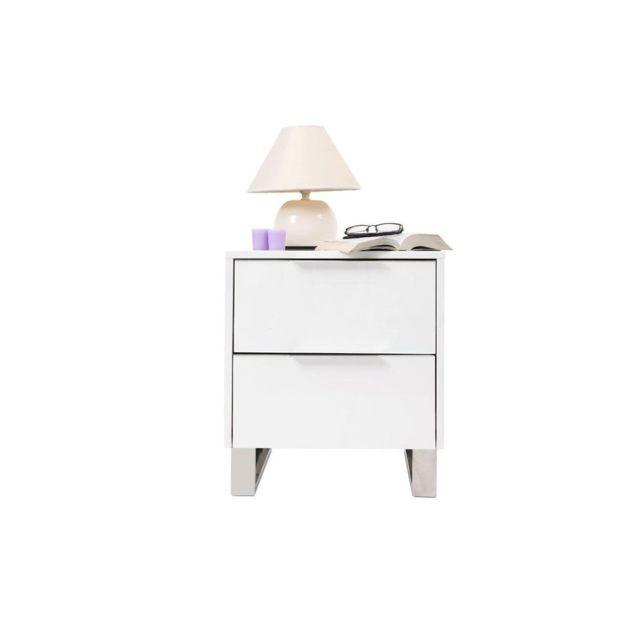 Miliboo Table De Chevet Design Laquee Blanche Halifax Pas Cher
