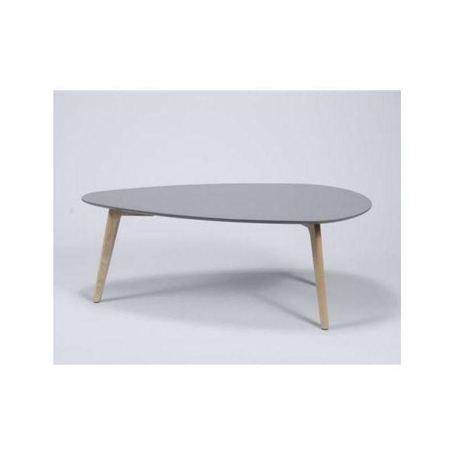 Inside 75 Table basse Mignone design grise avec piétement en chêne massif