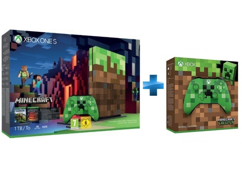 Pack Xbox One S 1To Minecraft Edition Limitée + Manette Xbox Edition Minecraft Creeper