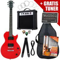 Rocktile - L-pack guitare électrique Red incl. ampli, housse, accordeur, câble, sangle, école Cd/DVD