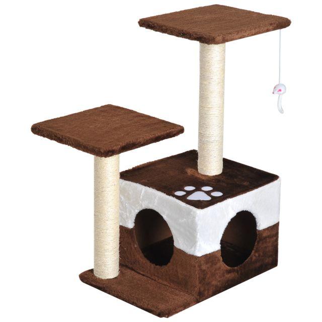edac00f3e8e PAWHUT - Arbre à chats avec griffoirs grattoirs sisal naturel centre  d activités niche plate