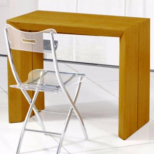 Inside 75 - Console extensible en table repas Extenso Deluxe bois ...