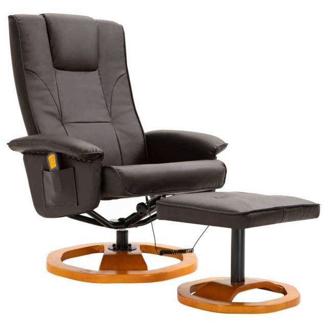 Helloshop26 Fauteuil de massage avec repose-pied confort relaxant massant détente marron similicuir 1702044