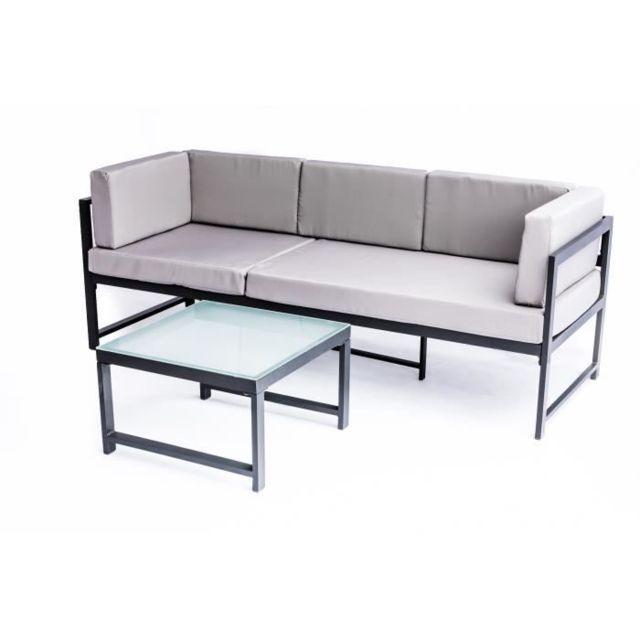 Salon De Jardin - Ensemble Table Chaise Fauteuil De Jardin Nimos Salon de  jardin en aluminium 5 places - Gris