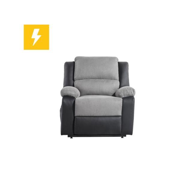 USINESTREET Fauteuil de Relaxation électrique 1 place Microfibre / Simili DETENTE - Couleur - Gris / Noir