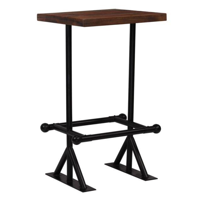 Vidaxl Table de Bar Bois de Récupération Massif Marron 60x60x107 cm Maison