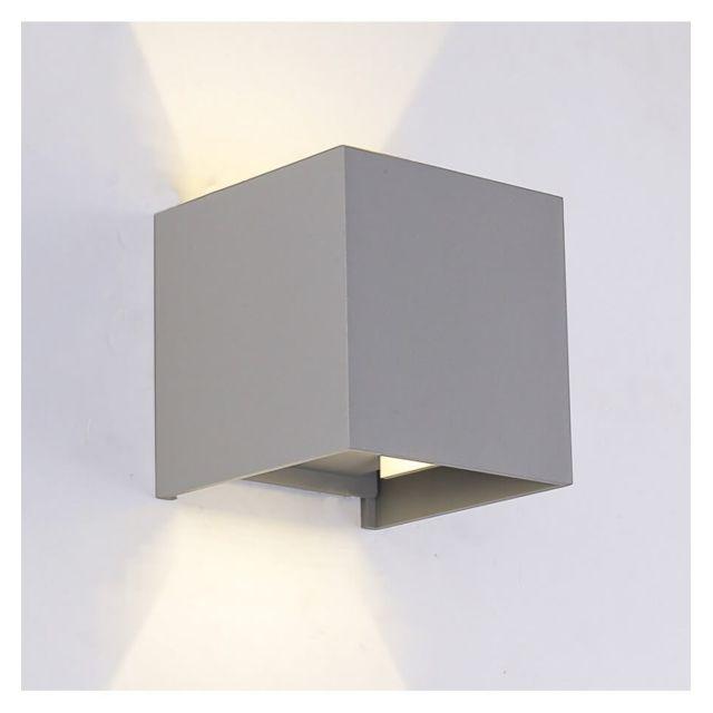 Applique Murale Led Cubic Gris Angle Ajustable Ip 54 Gris Aluminium
