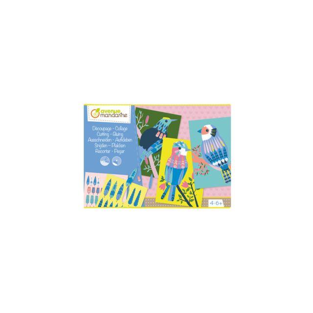 Avenue Mandarine Création papier - Collage d'oiseaux - Loisir créatif - 4 ans et